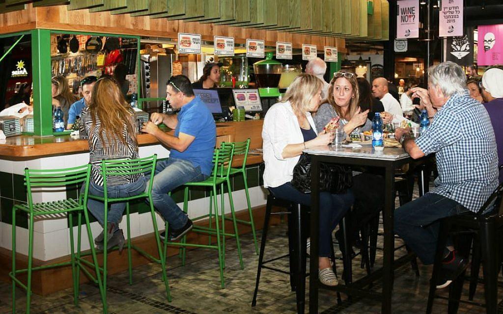 Sarona's indoor market area. (Shmuel Bar-Am)