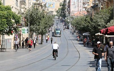 Jaffa street in Jerusalems city center. (Shmuel Bar-Am)