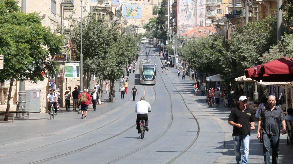 Kaiser Wilhelm II traveled Jerusalem's Jaffa road; the light rail runs down part of the street today. (Shmuel Bar-Am)