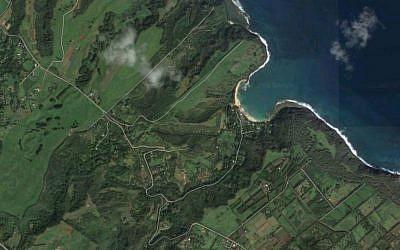 Satellite photo of the Koolau Road area of the Hawaiian island of Kailauea, where Facebook founder Mark Zuckerberg owns a 700-acre estate. (Google Maps screen capture)