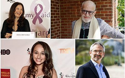 Clockwise from top left: Fran Drescher (Wikimedia Commons), Larry Kramer (Courtesy of HBO), Rabbi Steven Greenberg in 2014 (Wikimedia Commons), Jazz Jennings (Alberto E. Rodriguez/Getty Images for Trevor Project)