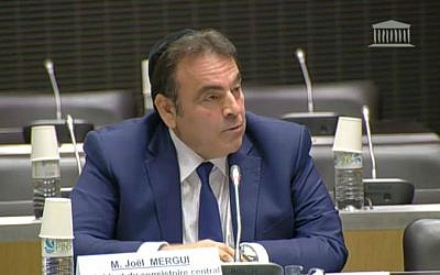 Joel Mergui, president of the French Consistoire, the Jewish community organ responsible for providing religious services, speaks to French lawmakers about ritual slaughter and circumcision, June 23, 2016. (YouTube screen capture)