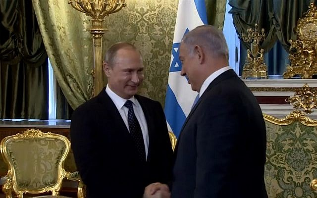 Russian President Vladimir Putin welcomes Prime Minister Benjamin Netanyahu at the start of a meeting at the Kremlin on June 7, 2016 (screen capture: Facebook)