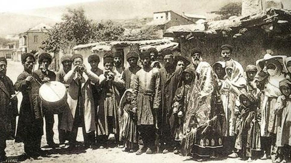 Mountain Jews of Krasnaya Sloboda celebrating an engagement, circa 1910. (Krasnaya Sloboda archives)