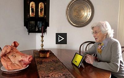 In 'Bacon & God's Wrath,' an elderly Jewish woman named Razie Brownstone discusses her intention to end her lifelong observance of the dietary laws of kashrut on her upcoming 90th birthday. (screen capture: The Scene via JTA)