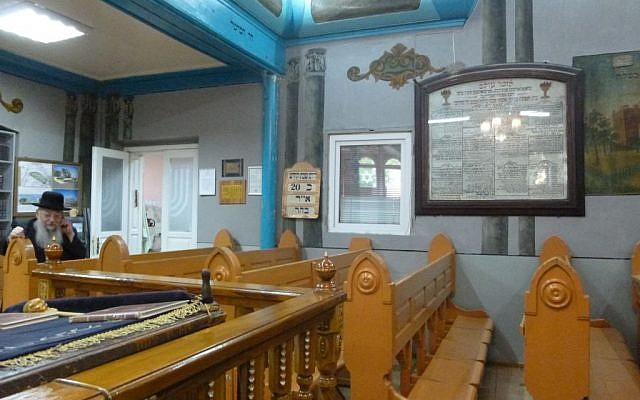 Rabbi Noah Kofmansky's synagogue, one of two currently operating in Chernivtsi, has been open continuously since its foundation nearly 100 years ago -- though it had remained without a rabbi until 1992. (Julie Masis/Times of Israel)