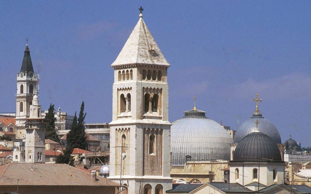 The domes of the Church of the Redeemer and the Holy Sepulchre. (Shmuel Bar-Am)