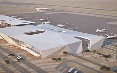 A 3D illustration of the Ramon International Airport near Eilat, slated to open in 2017 (YouTube screenshot)
