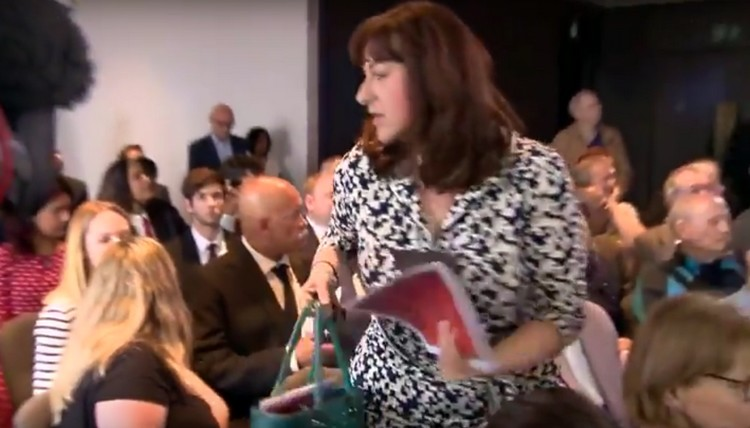 British Jewish Labour MP Ruth Smeeth walks out of the launch of the party's anti-Semitism report in London on June 30, 2016, after a Jeremy Corbyn supporter accuses her of controlling the media (screen capture: YouTube)