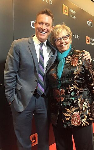 Steven Goldstein, shown in 2014 with Loretta Weinberg, the majority leader of the New Jersey state Senate, is the new executive director of the Anne Frank Center for Mutual Respect. (Facebook/via JTA)