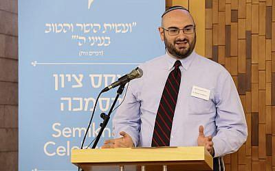 'Disciple' of Rabbi Danny Landes, Rabbi William Friedman speaks at his private ordination ceremony on June 7, 2016 in Jerusalem. (Naama Marinberg)