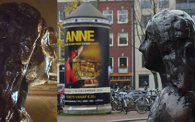Anne Frank statue near the Anne Frank House museum in Amsterdam, the Netherlands (Matt Lebovic/Times of Israel)