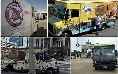 Clockwise from top left: Conversos y Tacos; New York on Rye Deli Truck; Taim Mobile; Milt's Barbecue for the Perplexed Food Truck. (Facebook)