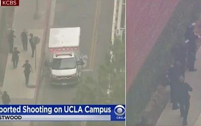 Screen capture of video from the scene of a shooting at the University of California, Los Angles, June 1, 2016. (YouTube/WRLDTV)