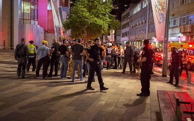 The scene at Tel Aviv's Cinemetheque theater, where police were also called following a shooting attack at the nearby Sarona Market in Tel Aviv on June 8, 2016 (Evan Lang/Courtesy)