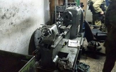 One of two pieces of equipment suspected of being used to make guns that were seized by the IDF during a raid near Jerusalem on June 9, 2016. (IDF Spokesperson's Unit)