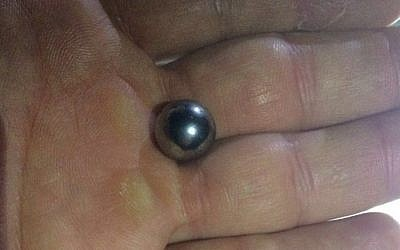 A ball-bearing found after an attack on an Israeli bus traveling near Nablus in the West Bank, June 5, 2016. (IDF Spokeman)