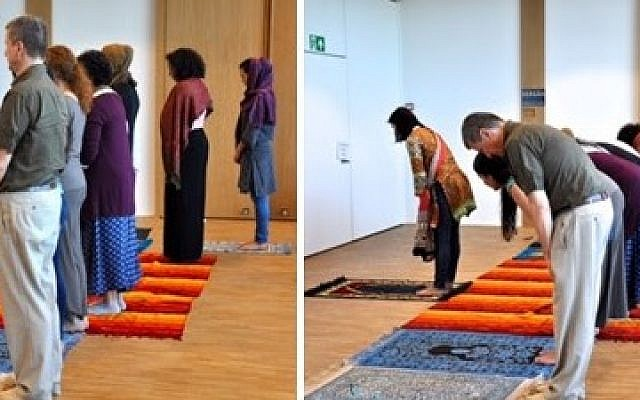 The Friday prayer led by a woman at the House of Religions in Bern on May 27, 2016. (MEMRI/Facebook)