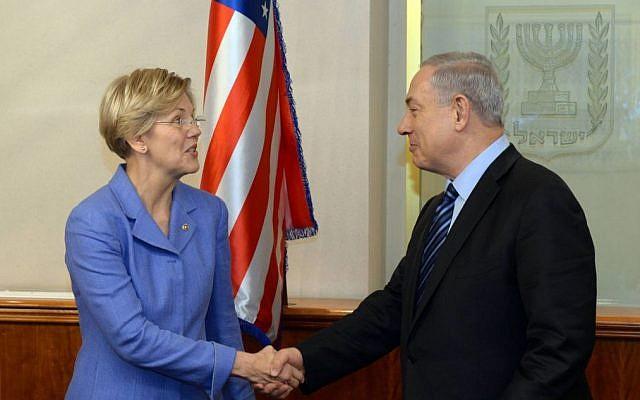 Sen. Elizabeth Warren (D-Mass.) meets with Israeli Prime Minister Benjamin Netanyahu in Jerusalem on Nov. 24, 2014 (Haim Zach/GPO/Flash90)
