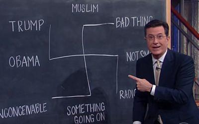 Stephen colbert mocks Donald Trump with Nazi symbolism on CBS's The Late Show (CBS/YouTube screenshot)