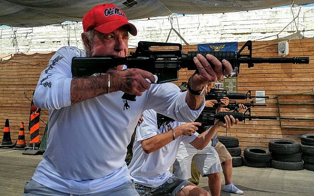 Actor James Caan at target practice in Gush Etzion (Courtesy Or Gefen)