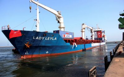 A picture taken on July 1, 2016 shows the Panama flagged ship Lady Leyla setting off from the southern port of Mersin. (AFP PHOTO / IHLAS NEWS AGENCY / HUSEYIN KAR)