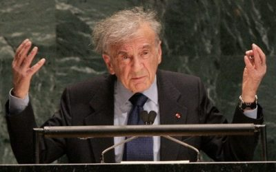 US author and Nobel Peace Prize recipient Elie Wiesel addressing the United Nations General Assembly  in New York, January 24, 2005. (AFP/DON EMMERT)