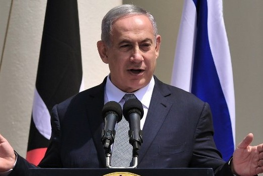 Israeli Prime Minister, Benjamin Netanyahu addresses the media at a joint press conference on July 5, 2016 at the State House, in Nairobi, on the second leg of his four-nation landmark African tour. / AFP PHOTO / SIMON MAINA