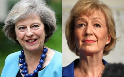 In this combination of file pictures created on July 7, 2016, British Conservative Party leadership candidate Theresa May (L) arrives to attend a cabinet meeting at 10 Downing Street in central London on June 27, 2016 and British Conservative Party leadership candidate Andrea Leadsom (R) delivers a speech to launch her bid to become the Conservative party leader in London on July 4, 2016. (AFP PHOTO / BEN STANSALL AND Leon NEAL)