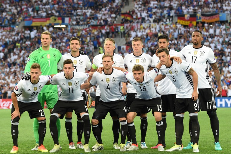 Germany s soccer team pose ahead of the Euro 2016 semi-final match against  France at 45b5a0d9f