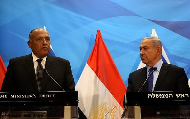 Prime Minister Benjamin Netanyahu (right0 gives a joint statement with Egyptian Foreign Minister Sameh Shoukry prior to their meeting at his Jerusalem office on July 10, 2016. (AFP PHOTO/GALI TIBBON)