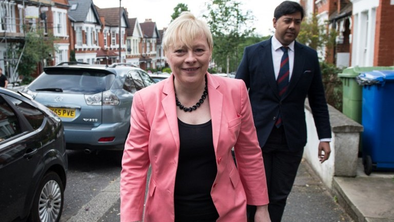 British Labour Party MP Angela Eagle leaves her home in London on July 11, 2016. Eagle was expected Monday to launch a bid to unseat Jeremy Corbyn as leader of the country's main opposition Labour Party as part of the fallout of last month's Brexit vote. (Chris J. Ratcliffe/AFP)
