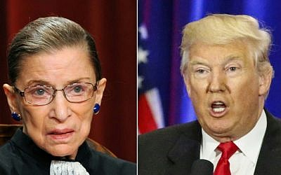 This combination of pictures created on July 13, 2016 shows US Supreme Court Associate Justice Ruth Bader Ginsburg (L) in Washington, DC, on October 8, 2010 and Republican presidential nominee Donald Trump in New York on June 22, 2016. (AFP PHOTO / TIM SLOAN AND KENA BETANCUR)
