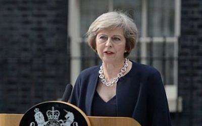 Britain's new Prime Minister Theresa May speaks outside 10 Downing Street in central London on July 13, 2016. (AFP/OLI SCARFF)