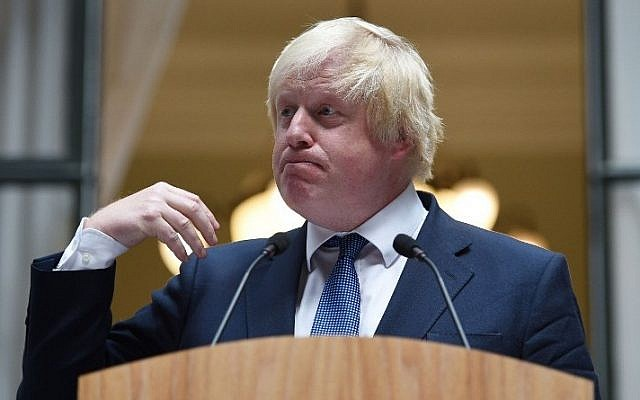 Newly appointed Foreign Secretary Boris Johnson addresses staff inside the Foreign and Commonwealth Office in central London on July 14, 2016. AFP/POOL/Andrew Matthews)