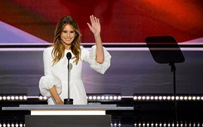 Melania Trump, wife of presumptive Republican presidential candidate Donald Trump, addresses delegates on the first day of the Republican National Convention on July 18, 2016 at Quicken Loans Arena in Cleveland, Ohio. (AFP PHOTO / Robyn BECK)