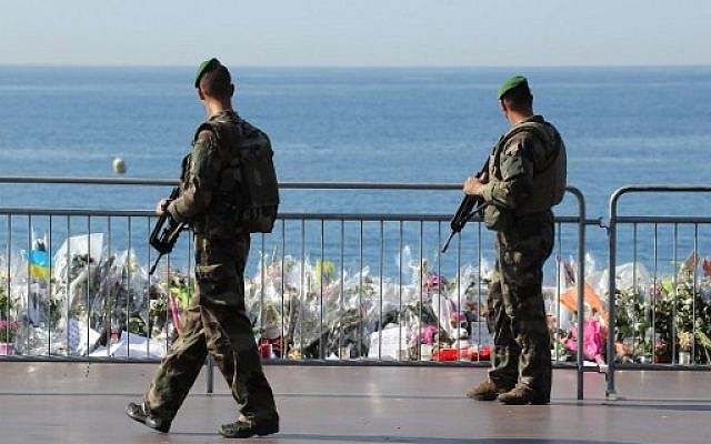 Illustrative: French soldiers on patrol along the famed Promenade des Anglais in Nice, southern France, on July 19, 2016. (AFP/Valery Hache)