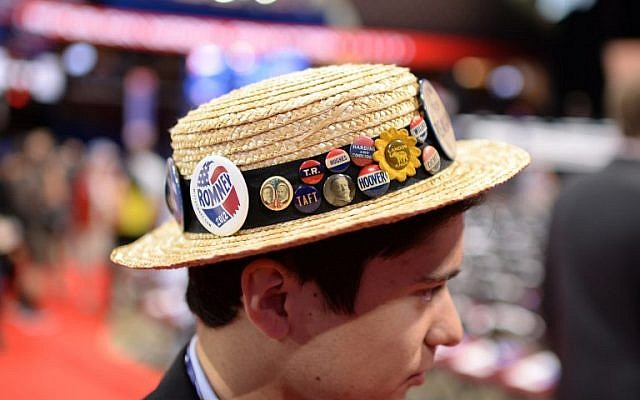 Alternate delegate from Pennsylvania Jonathan Hayes, 20, visits the convention floor before the start of the second day of the GOP event in Cleveland on July 19, 2016. Hayes, an ally of the Log Cabin Republicans, wants to see LGBT issues intergrated into the party platform. (AFP PHOTO/Robyn Beck)