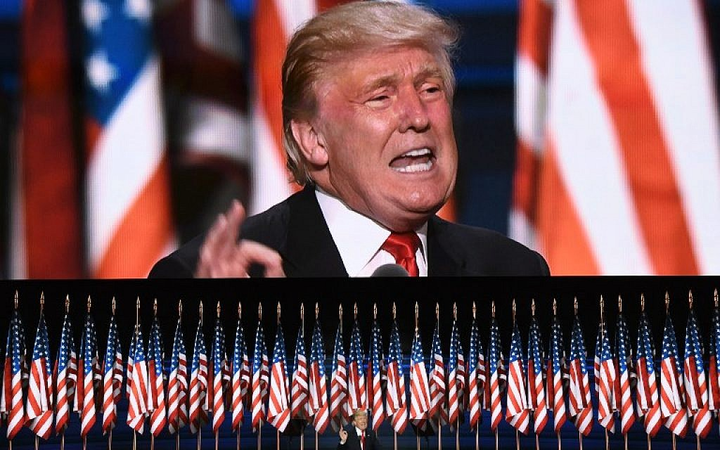 GOP presidential nominee Donald Trump speaks on the last day of the Republican National Convention on July 21, 2016, in Cleveland, Ohio. (AFP Photo/Jim Watson)