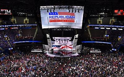 The Trump / Pence ticket appears on stage at the end of the last day of the Republican National Convention on July 21, 2016, in Cleveland, Ohio. (AFP PHOTO/DOMINICK REUTER)