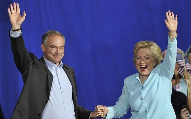 US Democratic Presidential candidate Hillary Clinton and her running mate US Senator Tim Kaine greet supporters at a campaign rally at Florida International University in Miami on July 23, 2016. (AFP / Gaston De Cardenas)