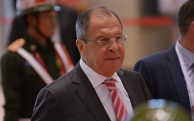 Russian Foreign Minister Sergey Lavrov at the main venue of the Association of Southeast Asian Nations (ASEAN) annual ministerial meeting and the Regional Security Forum  in Vientiane, Laos on July 25, 2016. (AFP PHOTO / HOANG DINH NAM)
