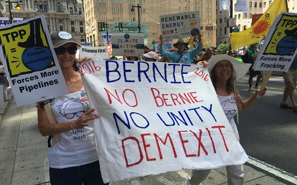 Pro-Sanders activists march in Philadelphia, Pennsylvania on July 24, 2016. (AFP /Ivan Couronne)