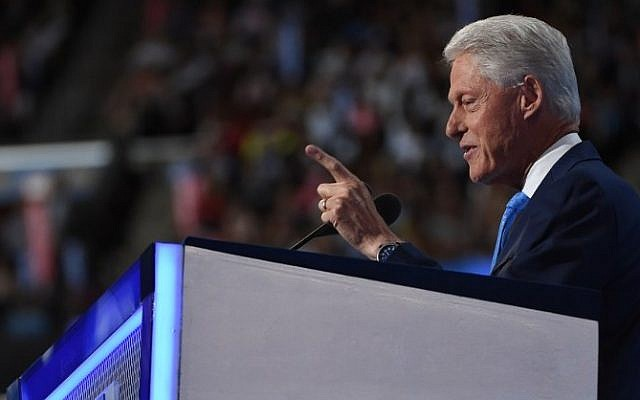 Former US president Bill Clinton speaks at the Democratic National Convention at the Wells Fargo Center, July 26, 2016, in Philadelphia, Pennsylvania. (AFP/Robyn Beck)