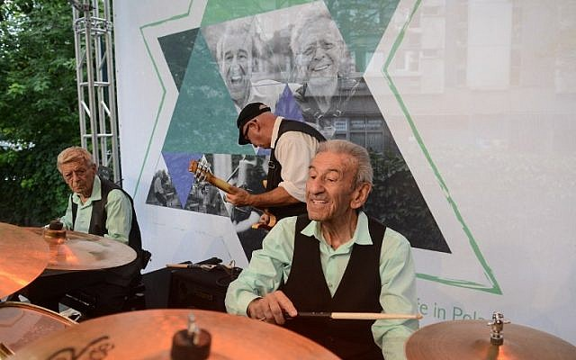 Saul Dreier, right, and Reuwen 'Ruby' Sosnowicz, left, from the Holocaust Survivors Band during a rehearsal before a concert in Warsaw, Poland, July 26, 2016. (AFP/PAP/ JAKUB KAMINSKI)