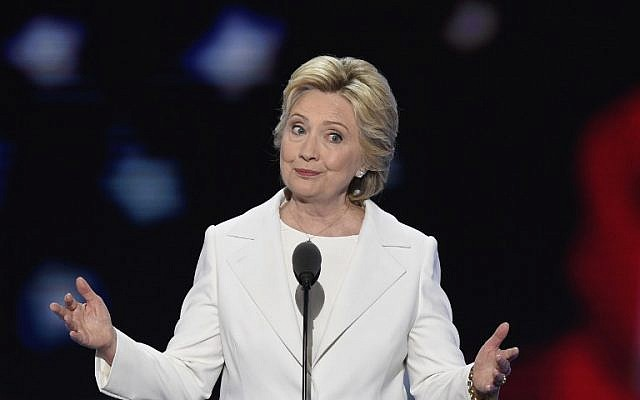 Democratic presidential nominee Hillary Clinton addresses delegates during the fourth and final night of the Democratic National Convention at Wells Fargo Center in Philadelphia, Pennsylvania  on July 28, 2016. (AFP PHOTO/SAUL LOEB)