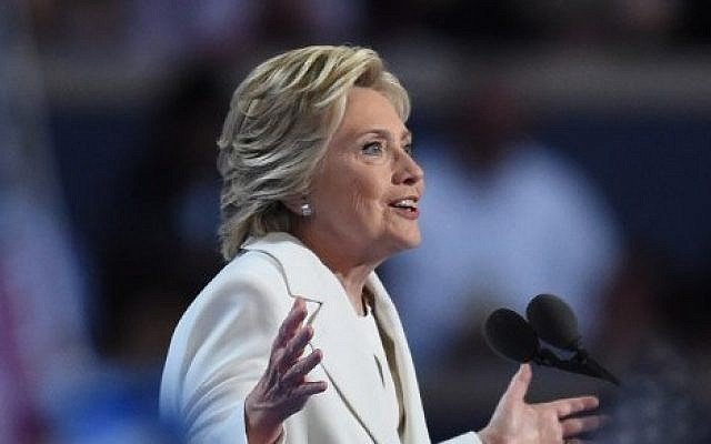 Presidential nominee Hillary Clinton speaks during the fourth and final day of the Democratic National Convention in Philadelphia, Pennsylvania, on July 28, 2016. (AFP/Timothy A. Clary)