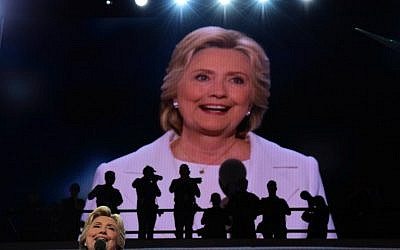 US presidential nominee Hillary Clinton addresses delegates on the fourth and final night of the Democratic National Convention at Wells Fargo Center in Philadelphia on July 28, 2016. (AFP/Robyn Beck)