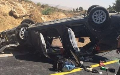 An Israeli car hit in a drive-by shooting near Hebron that killed one person and injured three on July 1, 2016 (IDF Spokesperson's Unit)