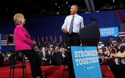US President Barack Obama speaks during a campaign rally with democratic presidential candidate former Secretary of State Hillary Clinton on July 5, 2016 in Charlotte, North Carolina. (Justin Sullivan/Getty Images/AFP)